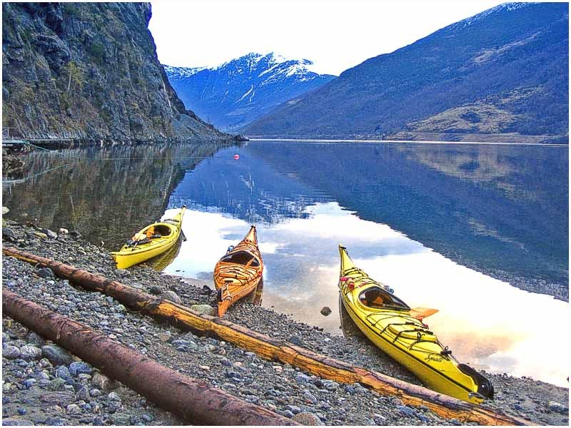 Kayaks on the Aurlandsfjord at Flam